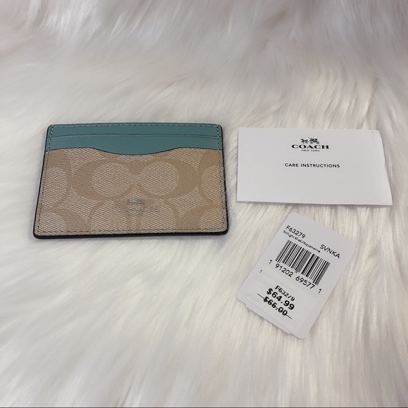 NWT Coach Monogramed Card Holder Teal / Tan